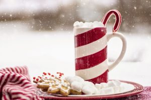 Cookies and a cup of hot cocoa with whipped cream